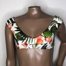 *Sz S 6 Vitamin A Baja Botanical Crop Bikini Swim Top Off Shoulder Green Pink