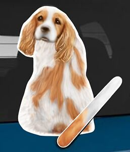 King Charles Spaniel Rear Car Window Sticker With Wagging Tail To Fit Wiper Arm