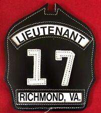 Richmond VA Fire Dept. ENGINE CO 17 LIEUTENANTLeather Fire Helmet Front Shield