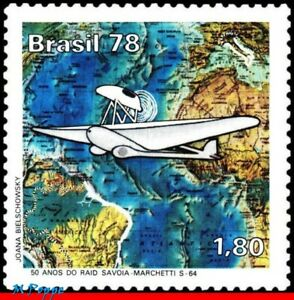 1564 BRAZIL 1978 SAVOIA MARCHETTI S-64 PLANES AVIATION, MAPS MI# 1658 C-1042 MNH