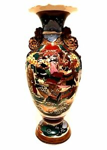 Vintage Satsuma Moriage Asian Pottery Vase Rich Colors Ceramic 13 inches Tall