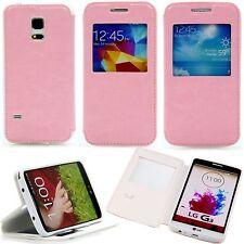 Samsung Galaxy s4 mini 9190 movil Flip View ventana bolso, funda estuche, rosa
