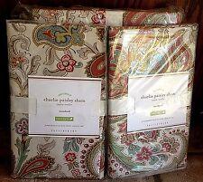 Pottery Barn Charlie paisley organic king duvet 2 standard sham red neutral warm