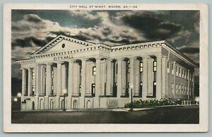 Macon Georgia~City Hall @ Night~Moon Behind Clouds~Lamp Posts Lit~1933