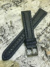 20mm Mens BLUE STRAP Vintage INTERCHANGEABLE GENUINE LEATHER STITCHED WATCH BAND
