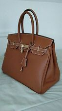 BROWN LEATHER BIRKIN INSPIRED HANDMADE BAG W/LOCK AND KEY GOLD ACCENTS MED. 35CM