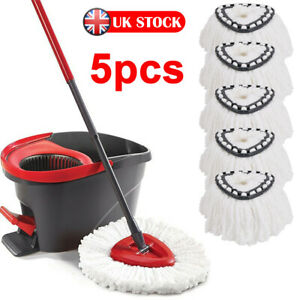 5pcs Easy Wring Clean Turbo Microfiber Spin Mop Head Set Replacement for Vileda