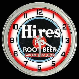 """16"""" Hires Root Beer Sign Red Neon Clock Chrome Finish Man Cave Garage"""