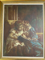 "Large Cortes ""Mother And Daughter Reading Scene"" Oil Painting - Signed/Framed"