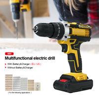 48V 1500RPM 28Nm Cordless Electric Hammer Drill Screwdriver w/ LED Light Tools