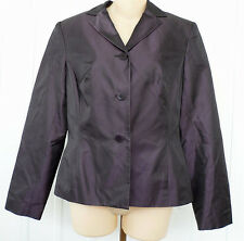 Ann Taylor 100% Silk Purple Sheen Jacket Coat Blazer Size 8