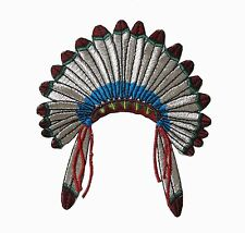 "#3091 3-5/8""x4-1/4"" Silver Indian Chief Head Feather Embroidery Applique Patch"