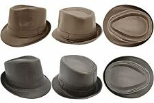 Elegant Mens Brown / Black Fedora Tilby Hat Cap Faux Leather Lined