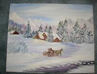 FOLK ART AMERICANA WINTER SNOW LANDSCAPE LOG CABIN HORSE WAGON STREAM PAINTING