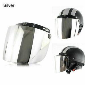 3-Snap Universal Flip Up Visor Wind Shield Lens For Retro Open Face Motorcycle