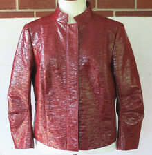NWT LAFAYETTE 148 New York Poppy Red Woven Beveled Dante Cotton Jacket Women 8