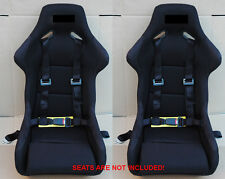 2X BLACK UNIVERSAL 4 POINT RACING SAFETY SEAT BELT 2' STRAP NYLON HARNESS BUCKLE