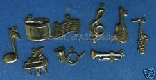 144pc Hematite Plate Musical Instrument Lot Charms 5634