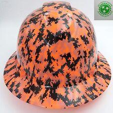 FULL BRIM Hard Hat custom hydro dipped , NEW DIGITAL ORANGE CAMO, SAFETY GLASSES