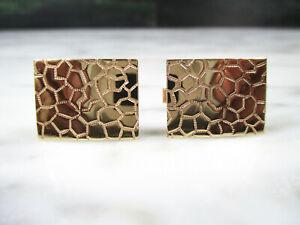 VTG 14K YELLOW GOLD MEN'S STONE MASONRY DESIGN CUFFLINKS 9.4 GRAMS 21 MM X 16 MM
