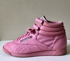Vtg 80s Bubble Gum Pink High Top Double Loop Sneakers Shoes Women's 8.5 9