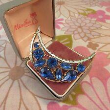 Vintage 1960s/70s Goldtone & Blue Rhinestone Half Moon Crescent Brooch Pin
