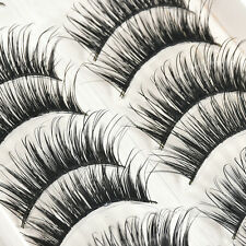 Fashion 10 Pairs Long Natural Makeup Black Handmade Thick Fake False Eyelashes