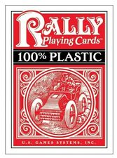 1 Rally Decks of Professional Plastic Coated Playing Cards Poker Size Color Red