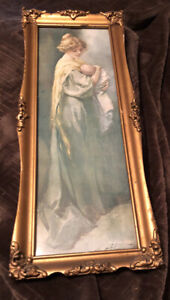 "Antique C.1900 ""Mother Holding Baby ""framed Print~ Original Frame ,16.5""x6,5"""