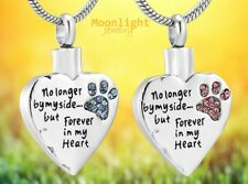 New Forever In My Heart Paw Pet Cremation Urn Keepsake Ashes Memorial Necklace