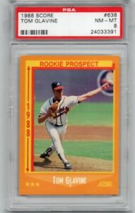 1988 Score Tom Glavine Rookie # 638  PSA8