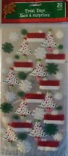 New CHRISTMAS CELLO PARTY GIFT BAGS 20 Count TREAT BAGS w Ties ~ Merry Christmas
