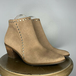 LUCKY BRAND TAUPE SUEDED STUDDED ANKLE BOOT - SIZE 8M