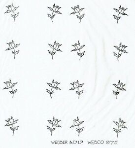 Vintage iron on embroidery transfer flowers, rosebuds webco, webber and co 975