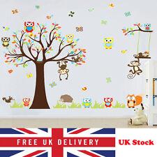 Animal de la selva Mono Búho árbol Grande Pegatinas De Pared Decoración De Arte Dormitorio de Niños Mural