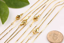 5/20PCS Gold Silver 1mm Ring Link Chain Lobster Clasp Necklace Finding 43cm DIY