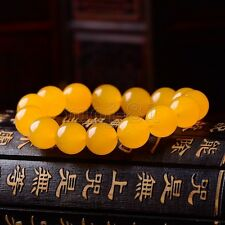 12MM 100% Natural A Grade Yellow Jade Jadeite Gemstone Beads Bracelet Bangle