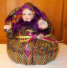Mardi Gras Jester Doll in Matching Puffy Soft Basket Decorated with Glitter Dots