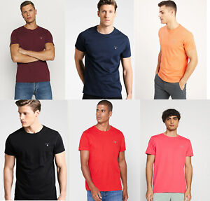 Gant Men Crew neck Short Sleeve Cotton Jersey Logo basic T shirt Tee Top S -5XL