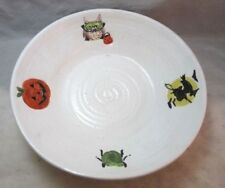 "Studio pottery wheel thrown Halloween Candy bowl. Signed ""g""."