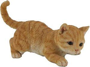 Realistic Orange Tabby Cat Patio Statue Ginger Kitten Garden Lawn Ornament Gift