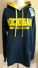 Blue Long Sleeve Michigan Wolverines Hooded Pullover Sweatshirt Large