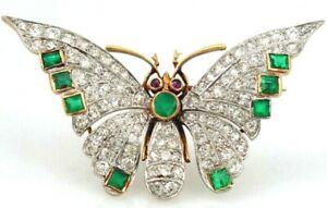3.10CT ROUND DIAMOND RUBY EMERALD GEMSTONE 14K YELLOW GOLD BUTTERFLY BROOCH