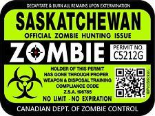 Canada Saskatchewan Zombie Hunting License Permit 3x4 Decal Sticker 1305