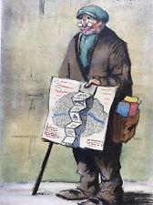 Vendeur de carte lithographie papier dessin épais Tournon peintre français XX e