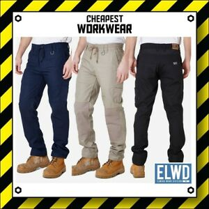 ELWD | Elwood Workwear | MENS ELASTIC WAIST WORK PANTS | Navy Stone Blk wp1 104