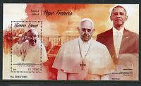 SIERRA LEONE 2015 PASTORAL VISITS OF POPE FRANCIS WITH BARACK OBAMA S/S MINT NH
