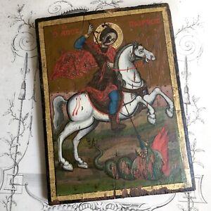 Icône Grecque Peinte Saint Georges Terrassant le Dragon XIXème