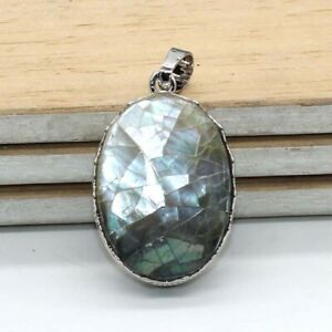 Natural Healing Crystal Quartz Stone Oval Shape Pendant For Women Jewelry Gift