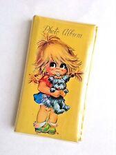 Vintage 1970s Yellow Photo Album Big Eyes Girl Shaggy Puppy Dog Retro Kitsch